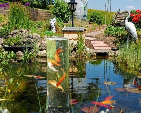 Goldfischrohr fischturm fischs ule teichs ule teich for Gartenteich aquarium