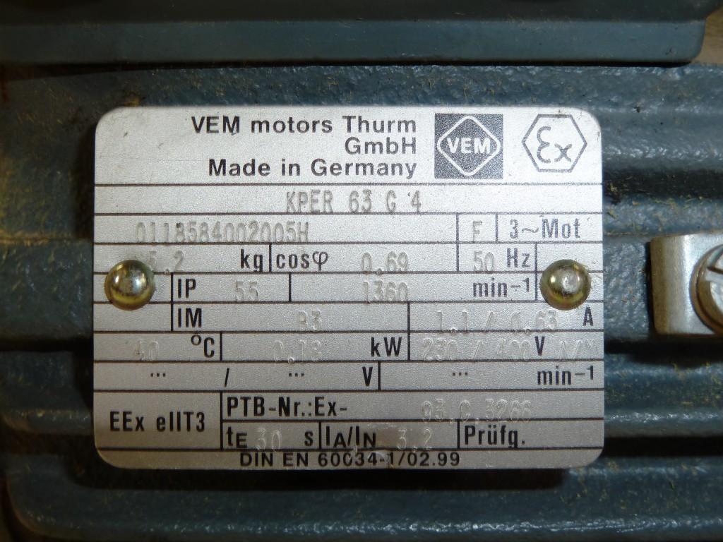 Vem Motors Tower Rotary Current Motor Kper 63 G4 Eex D Ii